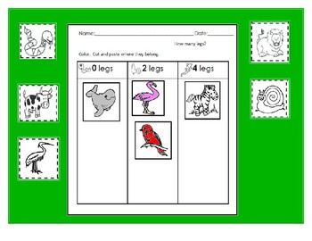 Animal characteristics-How many legs? activities (Eng and Spanish)