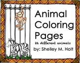 Animal coloring pages with 26 different animals