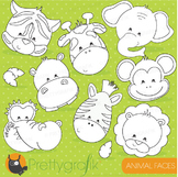 Animal faces stamps commercial use, vector graphics, images - DS719