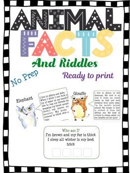 Animal facts and riddles , ready to print