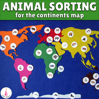 Animal card figures for the continents map