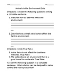 Animal in the environment quiz