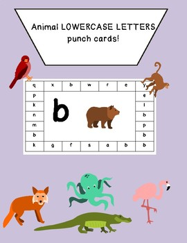 Animal lowercase punch card letters fine motor hand strength common core