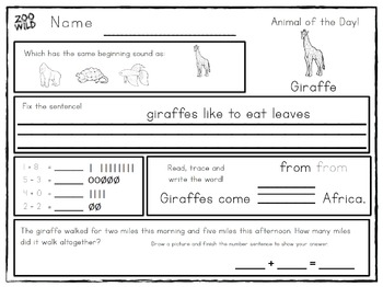 Animal of the Day! -- 1st Grade Morning Work Bundle -- ENTIRE YEAR