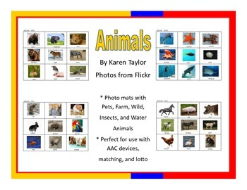 Animal picture mats, AAC, Proloquo2go, lotto, speech thera