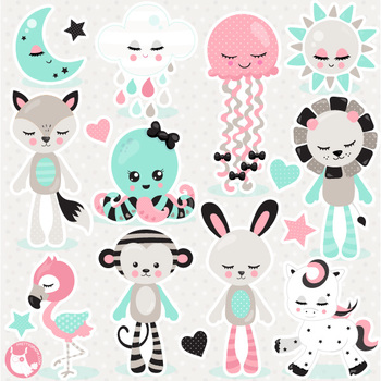 Animal plushies clipart commercial use, vector graphics  - CL1085