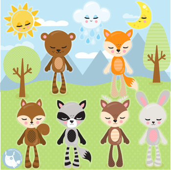 Animal plushies clipart commercial use, vector graphics  - CL1086