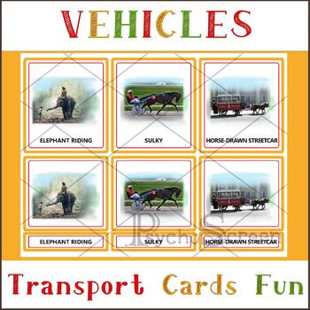 Animal-powered Transport, Montessori 3-Part Cards, Transportation, vehicle