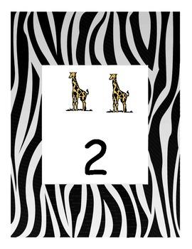 Animal print numbers Zebra print 1-10