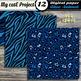 Animal prints Blue Digital paper - Tiger prints, crocodile leopard giraffe zebra