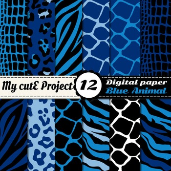 Animal prints Blue Digital paper - Tiger prints, crocodile leopard giraffe zebra
