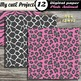 Animal prints Pink & Grey DIGITAL PAPER Tiger, crocodile,