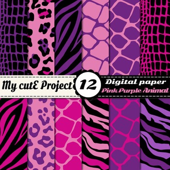 Animal prints Pink & Purple DIGITAL PAPER -Tiger crocodile leopard giraffe zebra
