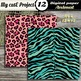 Animal prints Pink and Blue Digital paper - Tiger prints,