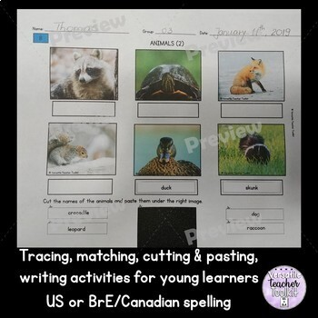 Animal-themed Picture Puzzle, Tracing, Writing, Cutting & Pasting Activities