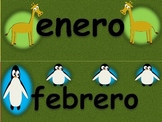 Animal themed Spanish Calendar Set.  Includes months, days, and numbers.