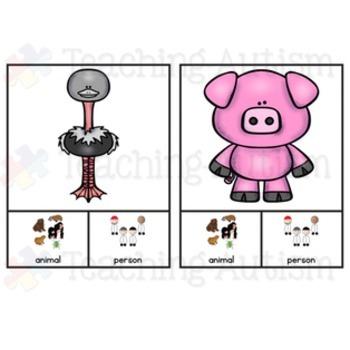Animal v People Sorting Categories Task Cards