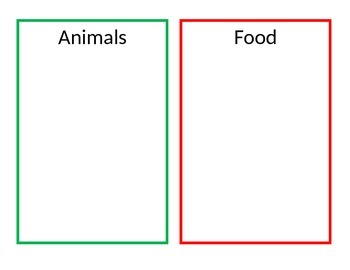 Animal vs Food Sorting Activity