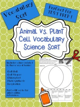 Animal and Plant Cell Vocabulary Word Sort