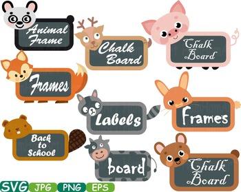 Animal woodland farm Chalk board Frames svg clip art back to school Labels -198s