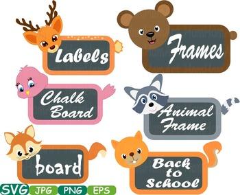 Animal woodland farm Chalk board Frames svg clip art back to school Labels -227s