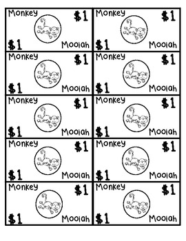 Animal/Jungle Theme Classroom Money - Monkey Moolah
