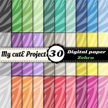 "Zebra - Animal Prints- DIGITAL PAPER-Instant Download-Scrapbooking-A4 & 12x12"""