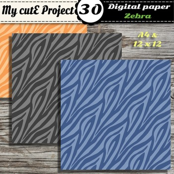 Zebra - Animal Prints- DIGITAL PAPER-Instant Download-Scrapbooking-A4 & 12x12""