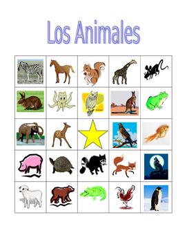 Animales (Animals in Spanish) Bingo game