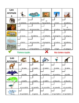Animales (Animals in Spanish) Grid vocabulary activity