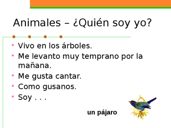 Animales (Animals in Spanish) Quién soy yo