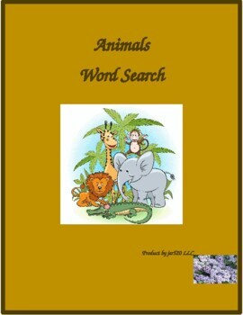 Animales (Animals in Spanish) wordsearch for differentiated learning