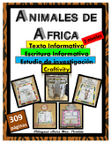 Animales de AFRICA African Animals Reading Writing  Creaftivity ResearchText Art