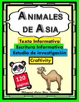 Animales de Asia Asian Animals Reading Writing ResearchText and Art