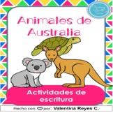 Animales de Australia Escritura - Australian animals in Spanish DIGITAL & PRINT