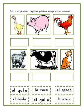 Animales de granja (Farm animals in Spanish) worksheet set