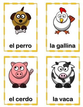 Animales de la Granja Flash Cards and Interactive Notebook