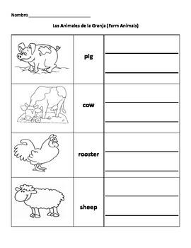 Animales de la Granja (Farm Animals) Spanish Vocabulary