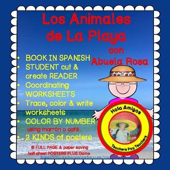 Animales de la Playa-Spanish Ocean Animals book, worksheets, flash cards, poster