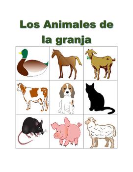 Animales de la granja (Farm animals in Spanish) Bingo