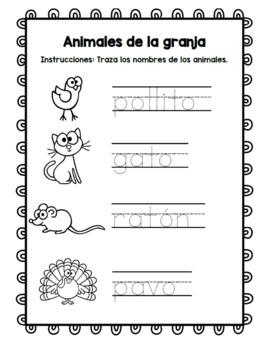 Animales de la granja / Spanish farm animal literacy centers