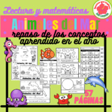 Animales del Mar, Ocean animals Math and Reading activities in Spanish