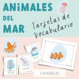 Animales del Mar Tarjetas de Vocabulario Spanish Sea Animals