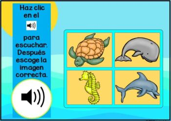Animales del mar ~ Spanish Marine Animal Digital BOOM Task Cards with Audio