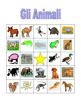 Animali (Animals in Italian) Bingo game