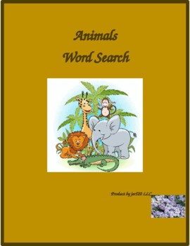 Animali (Animals in Italian) wordsearch for differentiated learning