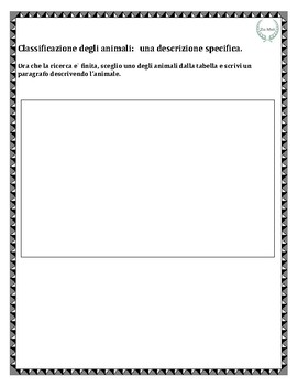 Animali: Classificazione fisica Graphic Organizer