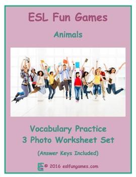 Animals 3 Photo Worksheet Set