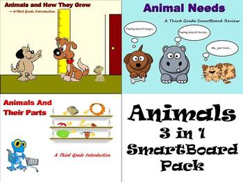 Animals 3 in 1 SmartBoard Pack for 3rd Grade