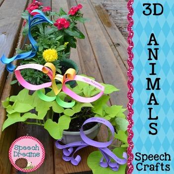 Animals 3D Speech Therapy Crafts {articulation language craftivities}